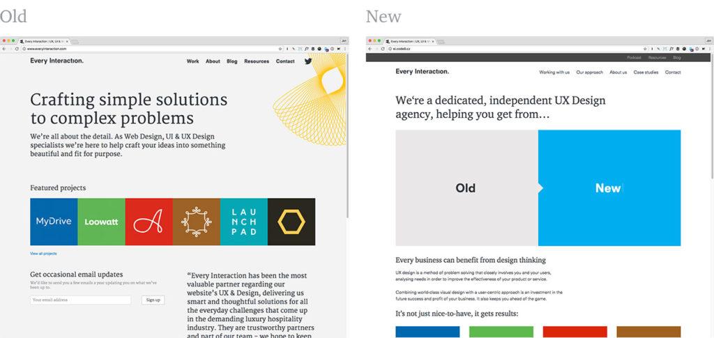 Old website design to new