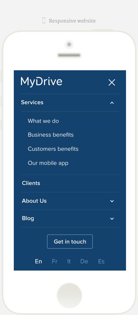 MyDrive Mobile Responsive Menu