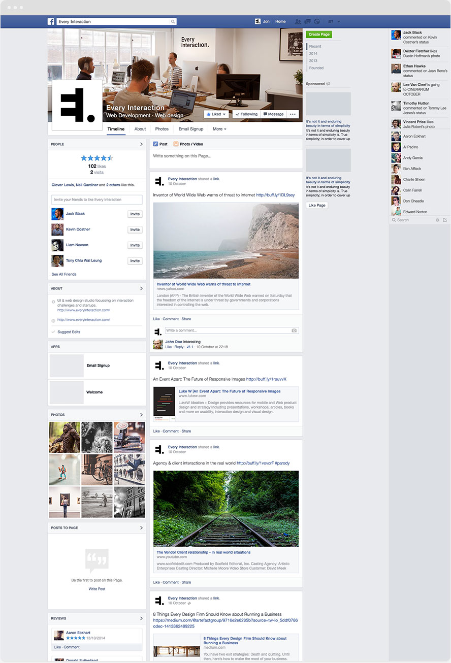 Template of facebook page
