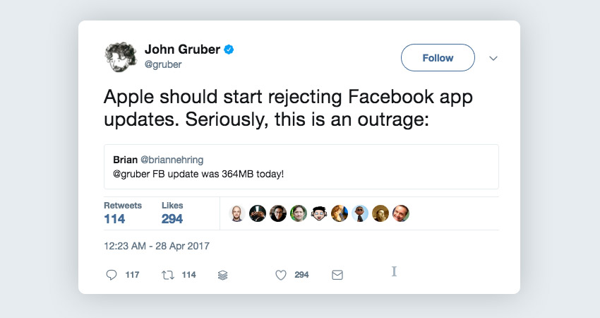 John Gruber replying to Facebook app weight tweet