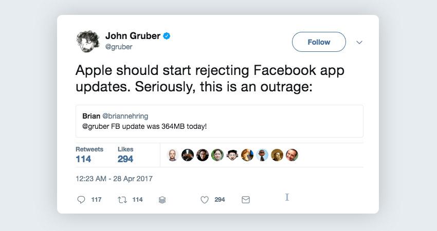 John Gruber replying to Facebook app weight tweet