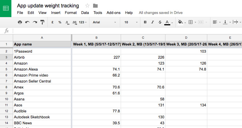 Spreadsheet tracking app update weight over 6 weeks