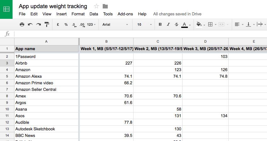 Spreadsheet tracking app update weight over 6 weeks