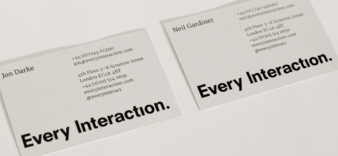 Every Interaction business card back