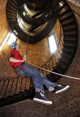 Castle climbing centre abseil