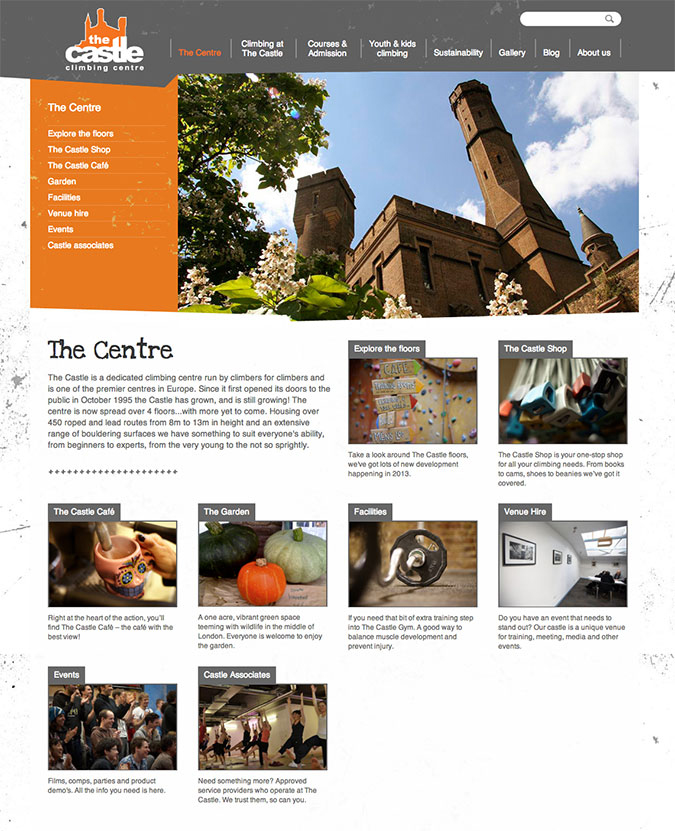 Castle climbing centre homepage