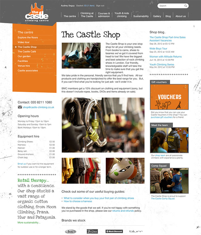 Castle climbing centre shop