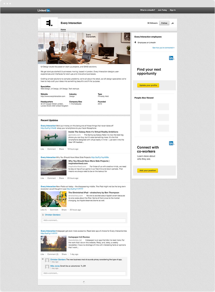 LinkedIn Company page GUI PSD/Sketch Template | Every Interaction