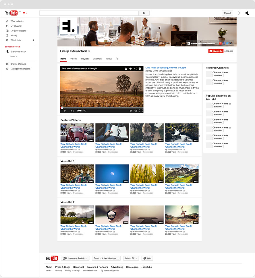 YouTube Channel GUI PSD Template | Every Interaction