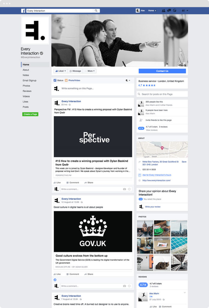 Facebook page GUI PSD/Sketch Template | Every Interaction