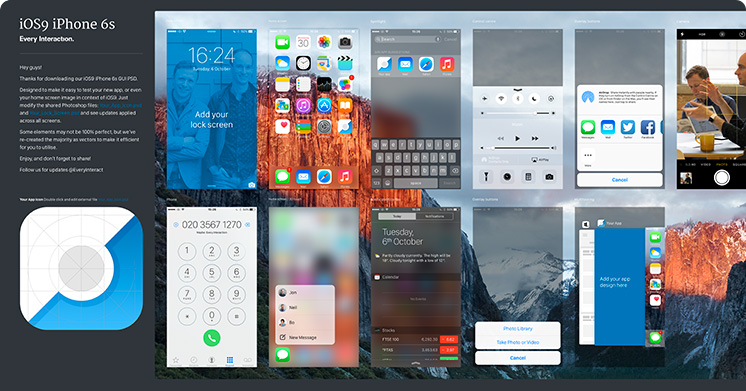 iPhone iOS 9 GUI PSD (iPhone 6s) - Every Interaction