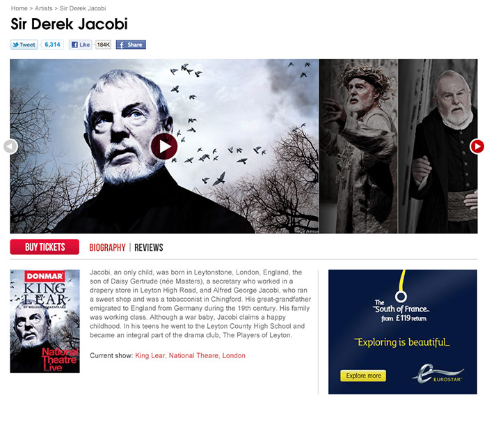 ATG Tickets artists page Derek Jacobi