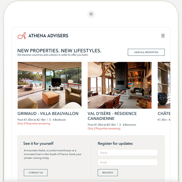 Athena Tablet Responsive Website