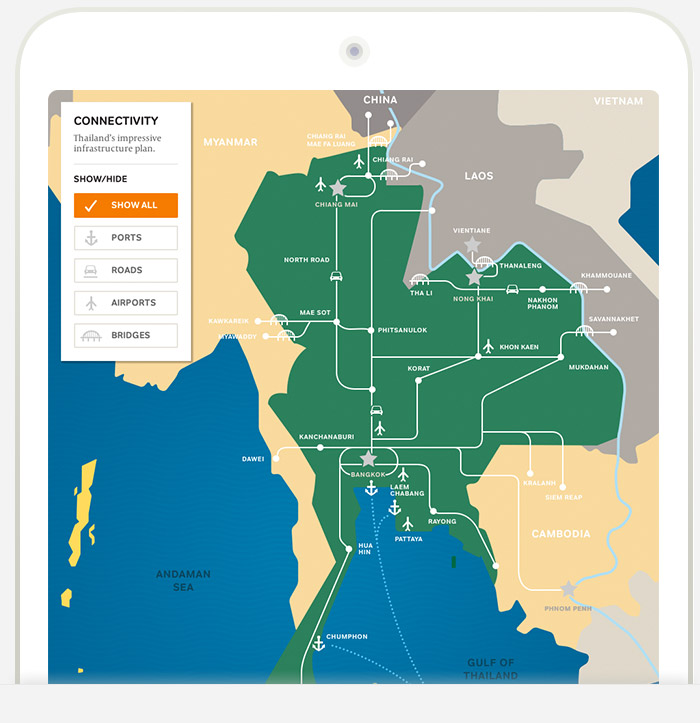 Modern Thailand infrastructure map iPad