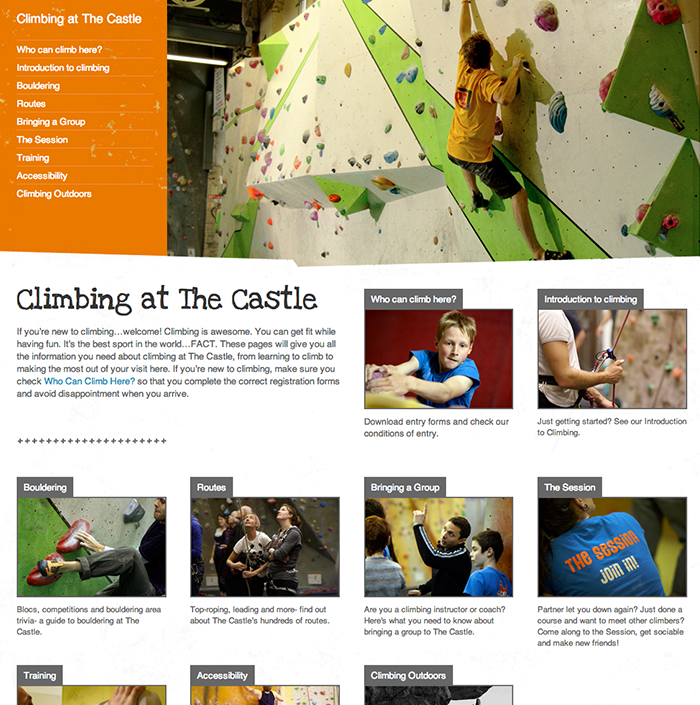 Castle Climbing website