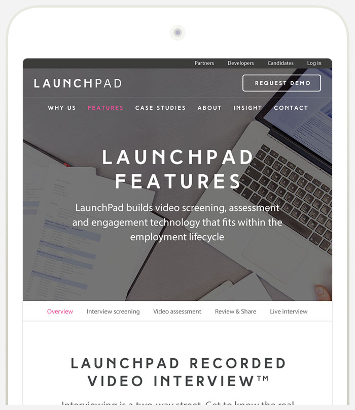 LaunchPad Recruits iPad Responsive Website