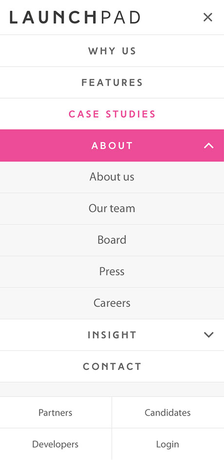 LaunchPad Recruits Mobile Responsive Website Menu
