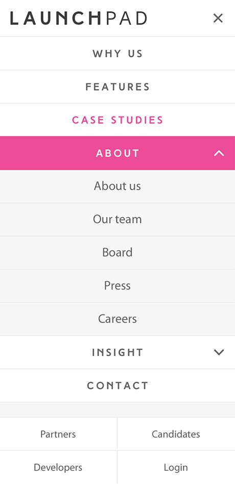 LaunchPad Recruits Mobile Responsive Website Menu
