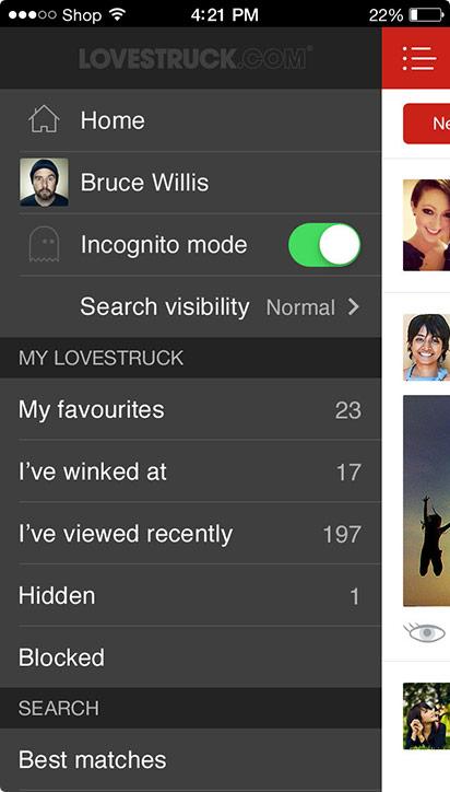Lovestruck iOS menu