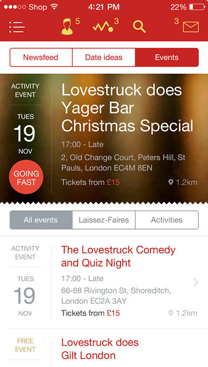 Lovestruck iOS events