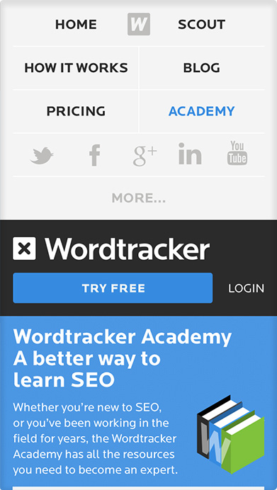 Wordtracker Responsive navigation