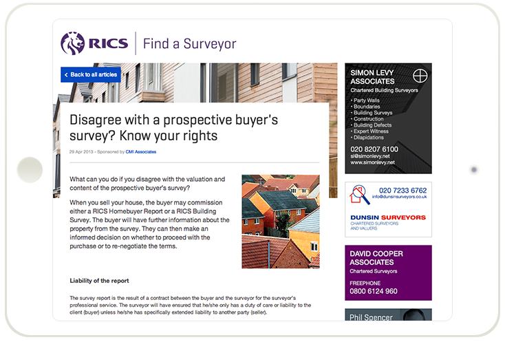 Responsive Find a surveyor site on iPad