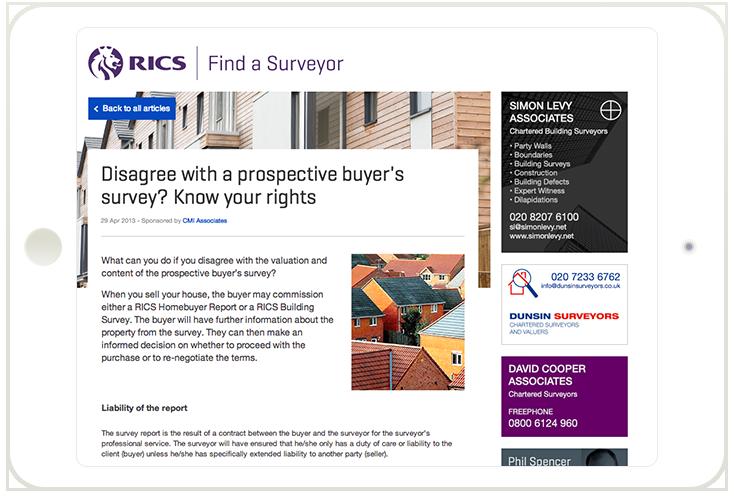 Responsive Find a surveyor site on iPad