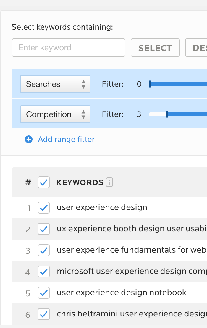 Wordtracker research tool UI closeup with filters open