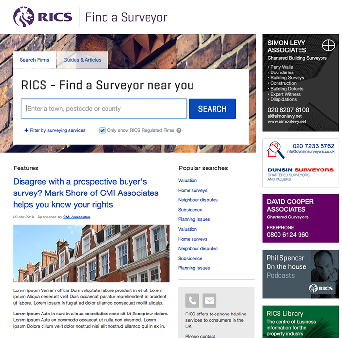 Find a surveyor homepage