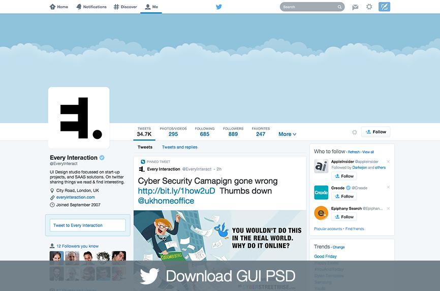 Template Photoshop du nouveau profil Twitter