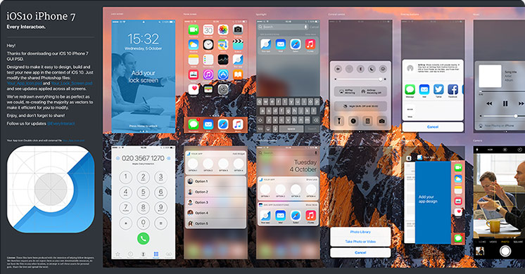 Ios 10 gui iphone 7 psd sketch every interaction for Facebook app template psd