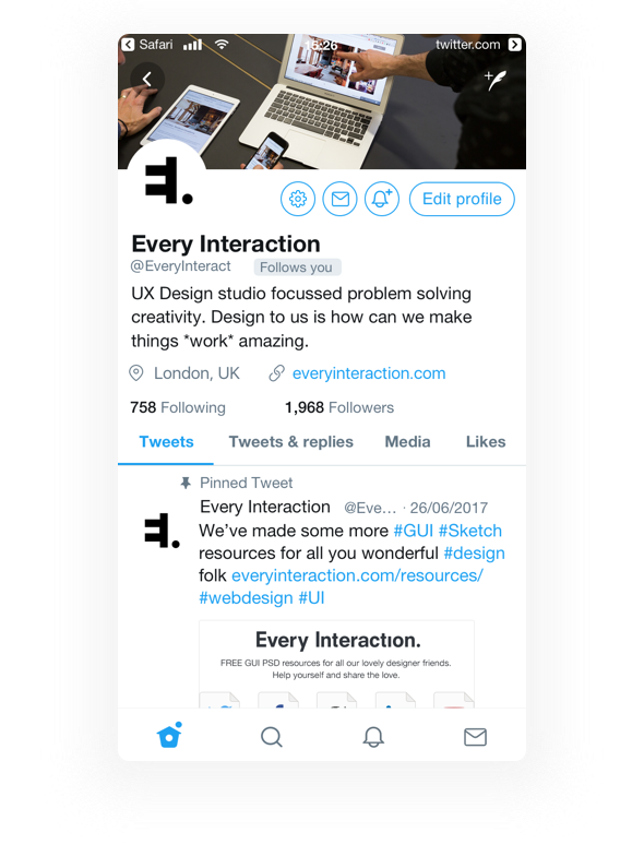 Twitter Profile GUI PSD/Sketch Template | Every Interaction