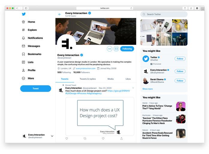 twitter profile desktop layout GUI