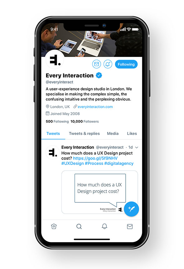 twitter profile mobile layout GUI