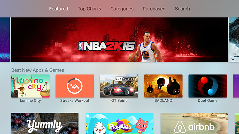 Apple TV app run navigation across the top